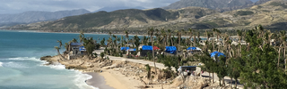 Tarp covered homes in Haiti damaged by Hurricane Matthew in 2016. Photo INURED 2016. Used with permission